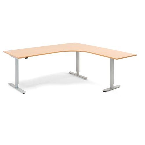 #en Flexus L desk, electric, 2000x2000 mm, beech laminate