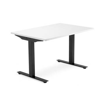 Modulus desk, T-frame, 1200x800 mm, black frame, white