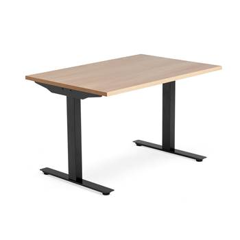 Modulus desk, T-frame, 1200x800 mm, black frame, oak