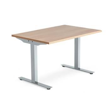 Skrivebord Modulus, t-stativ, 1200x800 mm, sølv, eik