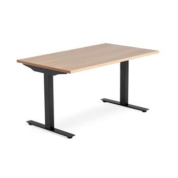 Modulus desk, T-frame, 1400x800 mm, black frame, oak