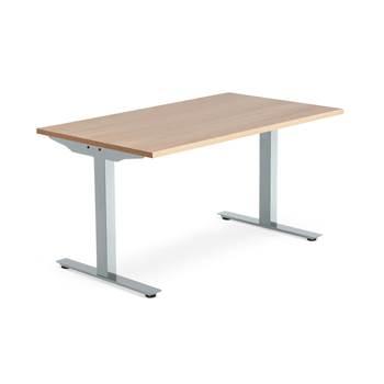 Modulus desk, T-frame, 1400x800 mm, silver frame, oak