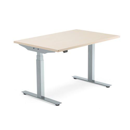 Sähköpöytä Modulus, T-jalusta, 1200x800 mm, hopeanharmaa jalusta, koivu