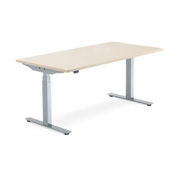 Modulus standing desk, 1600x800 mm, silver frame, birch