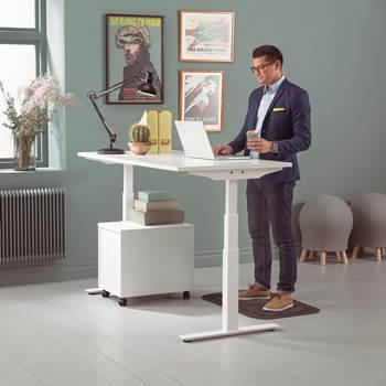 Modulus standing desk, 1600x800 mm, white frame, white