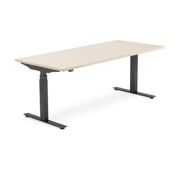 Modulus standing desk, 1800x800 mm, black frame, birch