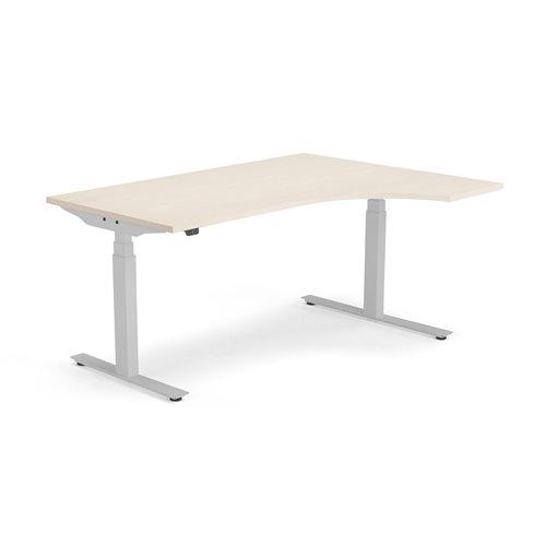 Ergonomiczne biurko stałe Modulus, rama T, 1600x1200 mm, srebrna rama, buk