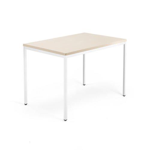 Työpöytä Modulus, 4 jalkaa, 1200x800 mm, valkoinen jalusta, koivu