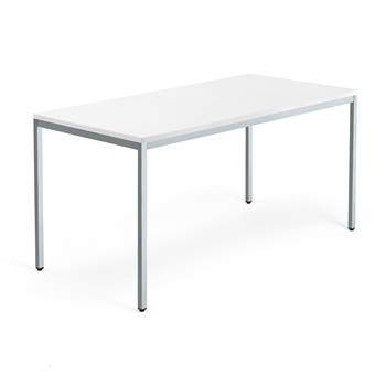 Skrivbord Modulus, u-stativ, 1600x800 mm, silver, vit