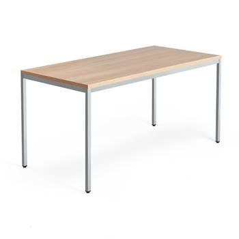 Skrivbord Modulus, u-stativ, 1600x800 mm, silver, ek