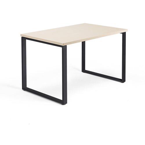 Työpöytä Modulus, O-jalusta, 1200x800 mm, musta jalusta, koivu