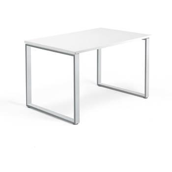 Skrivbord Modulus, o-stativ, 1200x800 mm, silver, vit