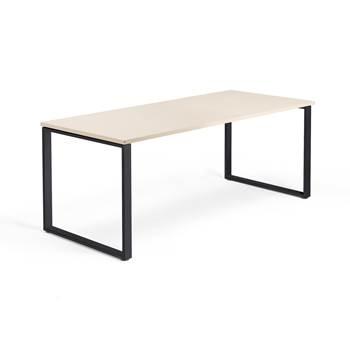 Skrivbord Modulus, o-stativ, 1800x800 mm, svart, björk
