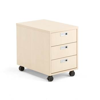 Modulus mobile pedestal, 3 drawers, birch