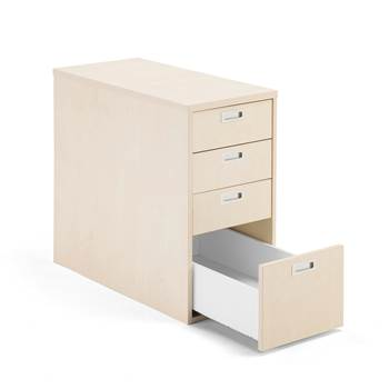 Modulus desk high pedestal, 4 drawers, birch