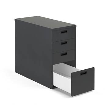 Modulus desk high pedestal, 4 drawers, black