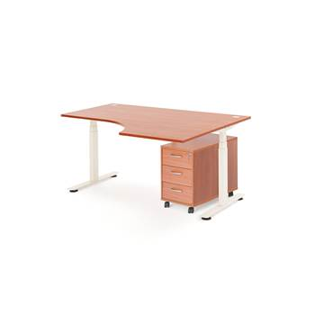 Package deal: height adjustable desk, right, 1600x1200+ pedestal, calvados