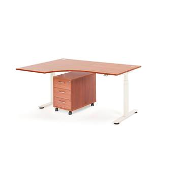 Package deal: height adjustable desk, left, 1600 x 1200 mm + pedestal, calv
