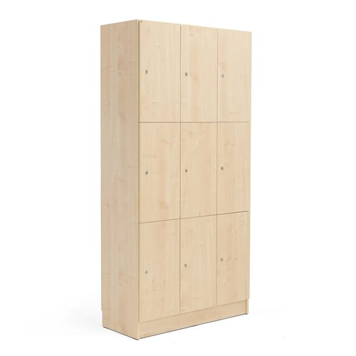 Wooden compartment locker 3 modules 9 doors for Wood lockers with doors