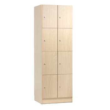 Wooden compartment locker, 2 modules, 8 doors, 1935x645x410mm, birch