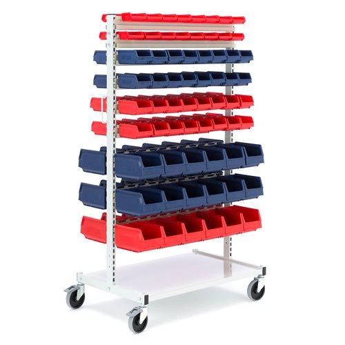 Complete storage bin trolley: 132 bins