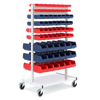 Complete storage bin trolley, 132 bins