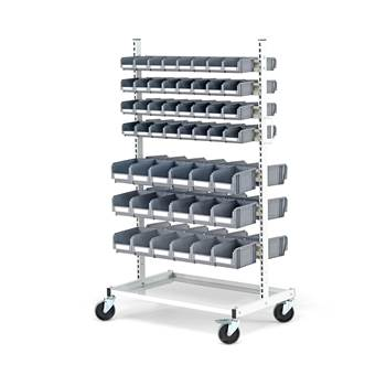 Mobile storage bin rack, 100 bins, 1625x900x600 mm