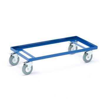 Lastetralle, metall, 860x410 mm, massive gummihjul, blå