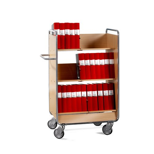 File trolley: sloping shelves