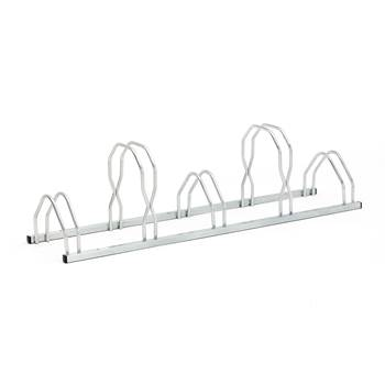 Wall or floor mounted bike rack, 5 bikes, 1600x330 mm