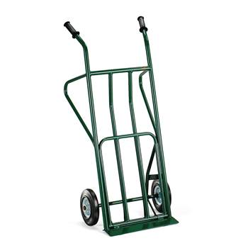 Budget warehouse cart, 250 kg load, solid rubber tyres, green