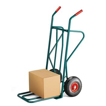 Budget warehouse cart, 250 kg load, pneumatic tyres, green