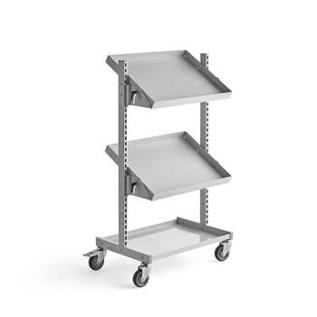 Adjustable tray trolley