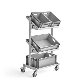 Adjustable tray trolley