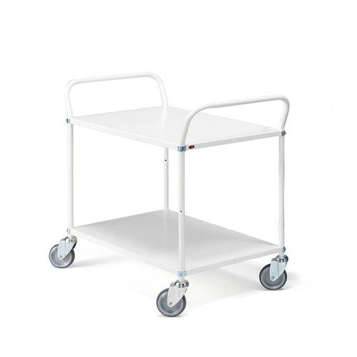 Biały wózek serwisow z 2 półkami, Wysokość: 940mm