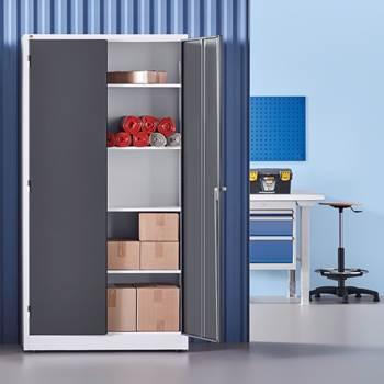 Oppbevaringsskap, helsveiset, 1900x1000x400 mm, hvitt med grå dører