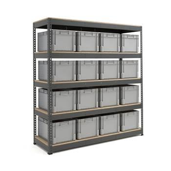 Komplett reol med 16 kasser