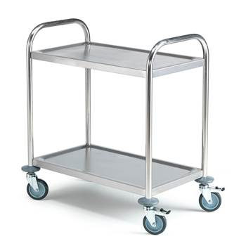 Budget stainless steel trolley, 2 shelves, 710x410x805 mm