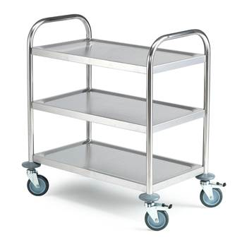 Budget stainless steel trolley, 3 shelves, 710x410x805 mm