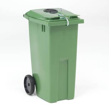 Lockable wheelie bin for cans/glass bottles, 1075x545x690 mm, 190 L, green