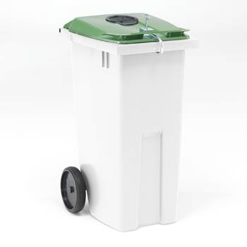 Lockable wheelie bin for cans/glass bottles, 1075x545x690 mm, 190 L, white