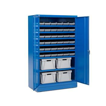 Cabinet with 36 x 6.1 L + 4 x 50 L boxes, blue
