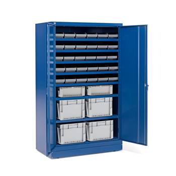 Cabinet with 30 x 6.1 L + 2 x 25 L + 4 x 50 L  boxes, blue