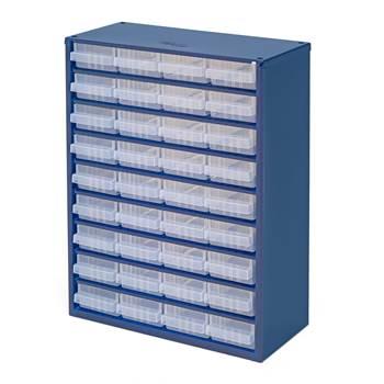Szafka z 36 plastikowymi pojemnikami