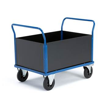 Platform trolley, 4 high sides, brakes, rubber wheels, 700x1000 mm