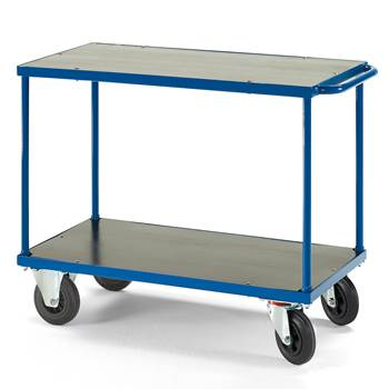 Platform trolley, 2 shelves, no brakes, rubber wheels, 700x1000 mm