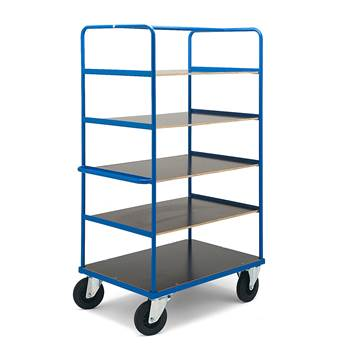 Platform trolley, 5 shelves, no brakes, 2 fixed + 2 castors, 800x1200 mm