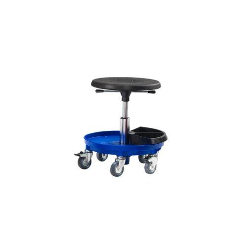 Työjakkara Midi, pyörät, 360-480 mm, sininen