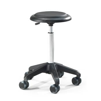 Mobile work stool: H570mm: black vinyl