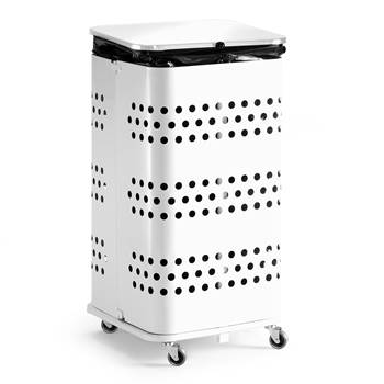 Refuse bag stand, with lid, 900x450x450 mm, 125 L, white
